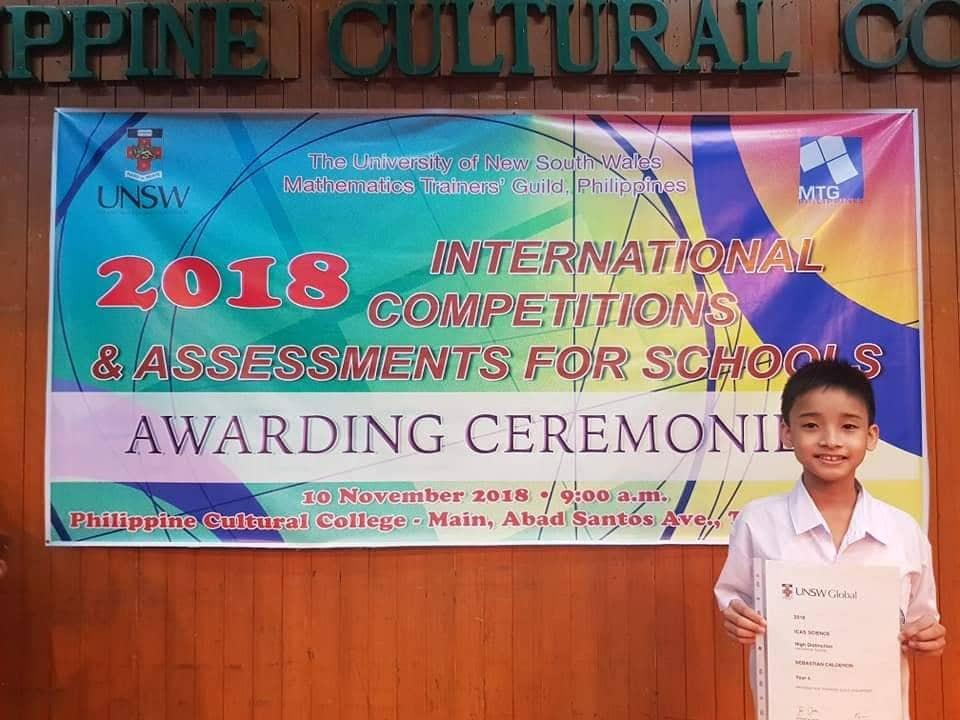 Sebastian Calderon Scores High in ICAS | Philippine Institute of